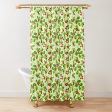Cranberry Fruit Pattern on Green Shower Curtain