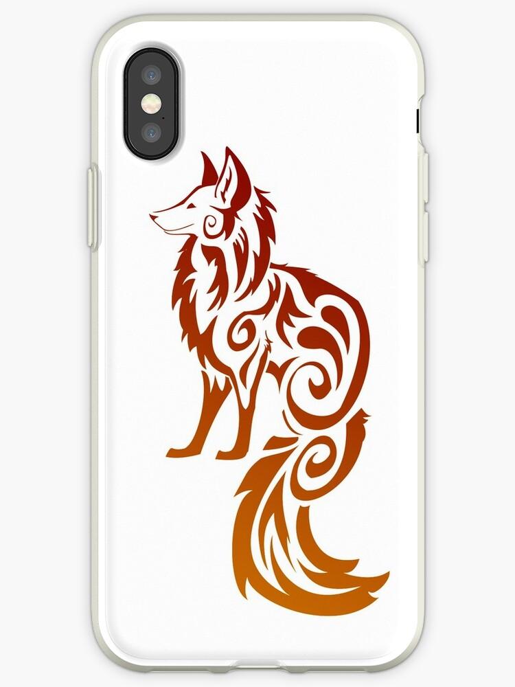 Firey Red Tribal Fox Kitsune by Stormslegacy