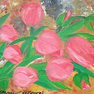 Seven red tulips by elajanus