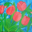 Five red tulips by elajanus