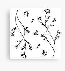 Hand Drawn Floral Doodle - Vine & Bloom Canvas Print