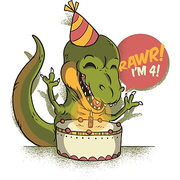 T Rex Birthday Party RAWR I'm 4 Dinosaur by ZippyThread