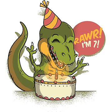 T Rex Birthday Party RAWR I'm 7 Dinosaur by ZippyThread