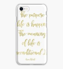 The purpose of life is happiness Rami Bleckt quote Gold iPhone Case/Skin