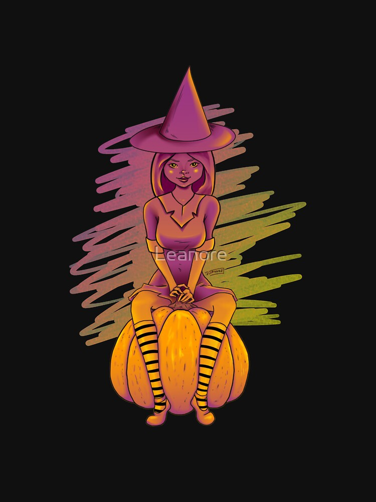 Witch Cutie on a Pumpkin by Leanore