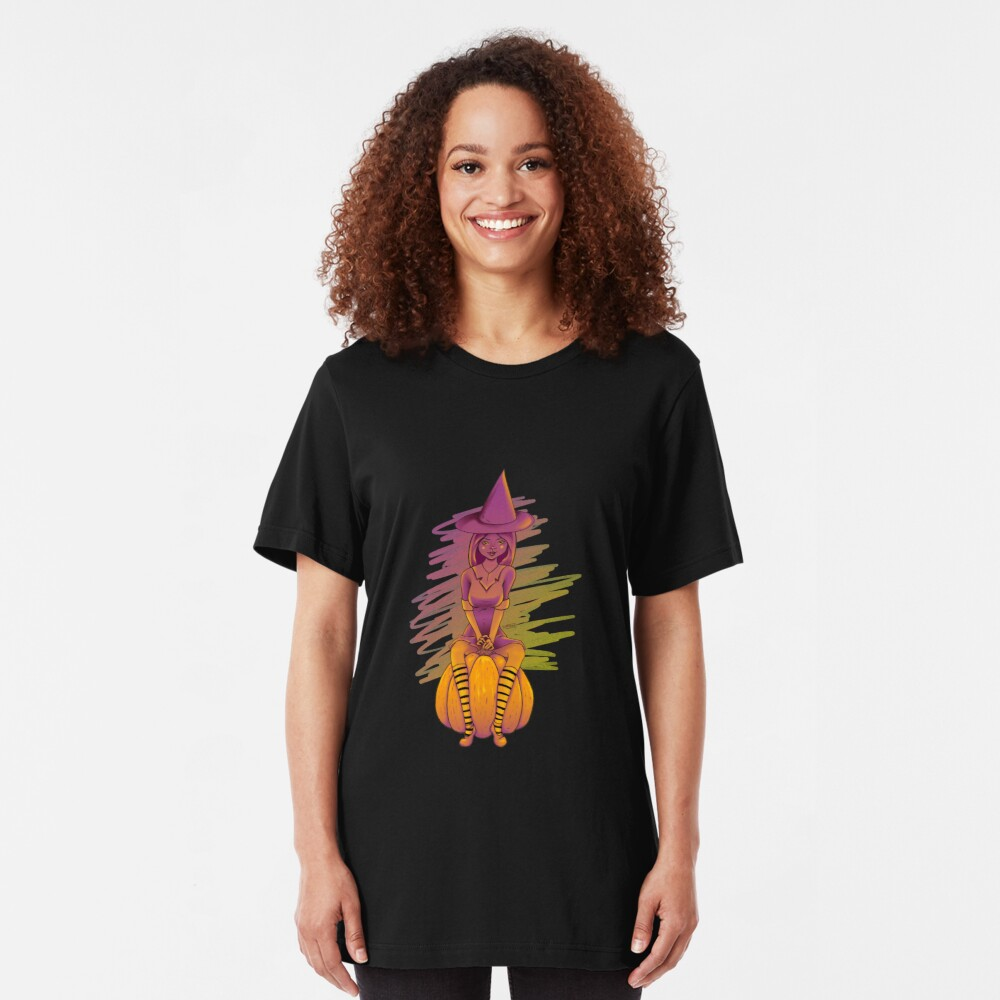 Witch Cutie on a Pumpkin Slim Fit T-Shirt