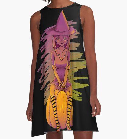 Witch Cutie on a Pumpkin A-Line Dress