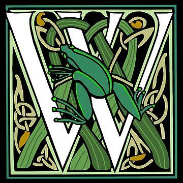 Celtic Nouveau Frog Letter W 2018 by Donnahuntriss