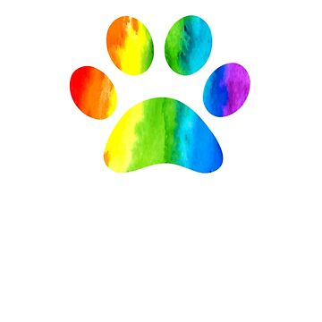 Cute Colorful Dog Paw Prints by galleryOne