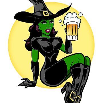 Sexy Witch Pin Up Beer Halloween Art for Adults by bsanczel