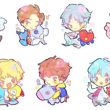 BTS DNA stickers Cute KPOP chibi by Rainbronii