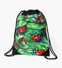 Ladybugs in the Hedge Drawstring Bag