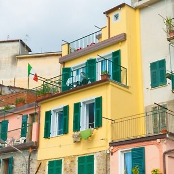Typical architecture and colors of terrace homes in Italian village of Riomaggiore by brians101