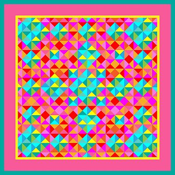 Abstract Colorful Geo Diamond Pattern with Border in Turquoise and Rose by IcArtsyOrigin8
