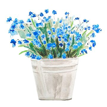blue forget me not in a basket  by ColorandColor