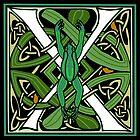 Celtic Nouveau Frog Letter X 2018 by Donna Huntriss