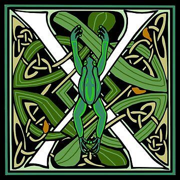 Celtic Nouveau Frog Letter X 2018 by Donnahuntriss