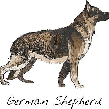 German Shepherd Vintage Style Drawing by efomylod