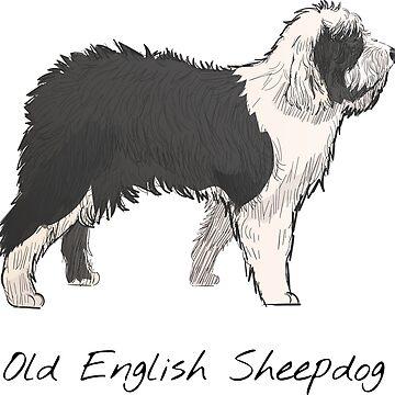 Old English Sheepdog Vintage Style Drawing by efomylod