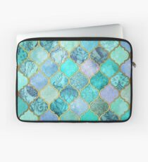 Cool Jade & Icy Mint Decorative Moroccan Tile Pattern Laptop Sleeve