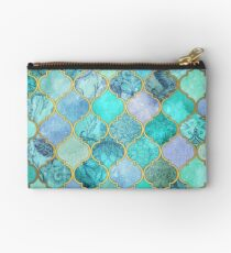 Cool Jade & Icy Mint Decorative Moroccan Tile Pattern Studio Pouch