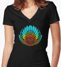 Mayan mask, crop circle, Quetzalcoatl Women's Fitted V-Neck T-Shirt