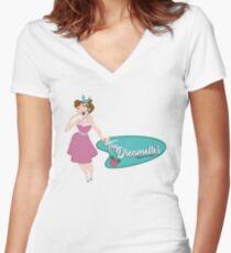 Dreamettes Pin-up Shirt mit V-Ausschnitt