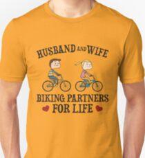 Husband And Wife Biking Partners For Life - Funny Cycling  Gift Slim Fit T-Shirt