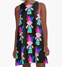 Funky 80's/90's Troll Doll inspired design A-Line Dress