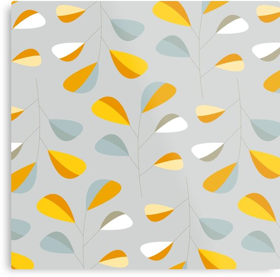 Mid Century Modern Graphic Leaves Pattern 2. Pastel Grey  by Dominiquevari