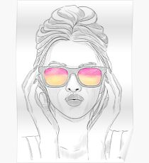 Fashion Sketch Girl With Sunglasses Poster