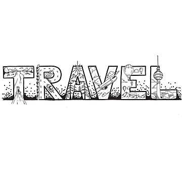 Hand drawn Travel Illustration for Travel Addicts, Globetrotters and Wayfarer | Sketch Font | Artistic Font | Hand Lettering Art by regedy1