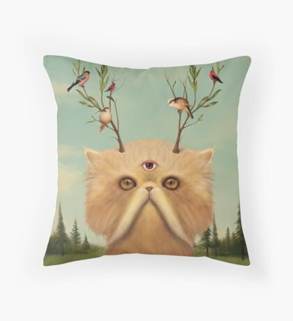 Cat Deity Throw Pillow