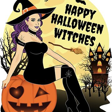Happy Halloween Witches Good Bad Witch by ZNOVANNA