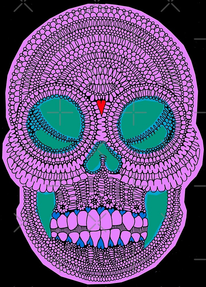 Purple Sugar Skull Pattern Design by kitschandkawaii