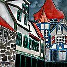 Helen Georgia cityscape hotel drawing by derekmccrea