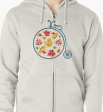 Retro bicycle and autumn leaves. Zipped Hoodie
