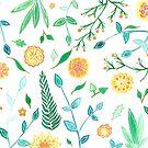 """Aquarellbild """"Blumen in Orange"""", handgemalt von Sylvia Polis"""