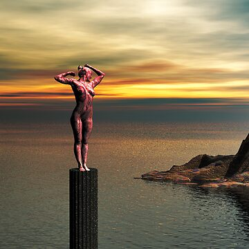 Woman statue watching the Island by Godwin