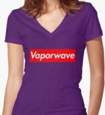 Aesthetic Vaporwave Women's Fitted V-Neck T-Shirt