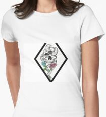 Skull with roses Women's Fitted T-Shirt