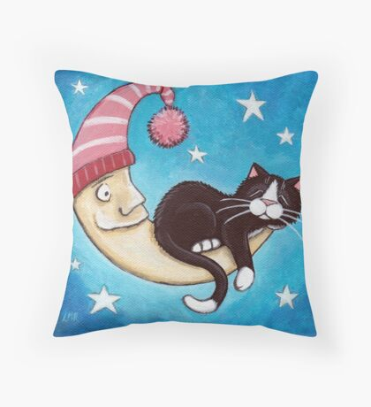 The Safest Place for a Cat Nap Throw Pillow