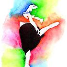 Ballerina Watercolor Art | Dancer Stencil Art  by coloringiship