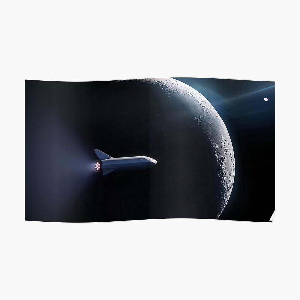 SpaceX's BFR passiert den Mond Poster