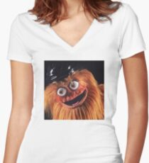 """Flyers New Mascot """"Gritty"""" Women's Fitted V-Neck T-Shirt"""