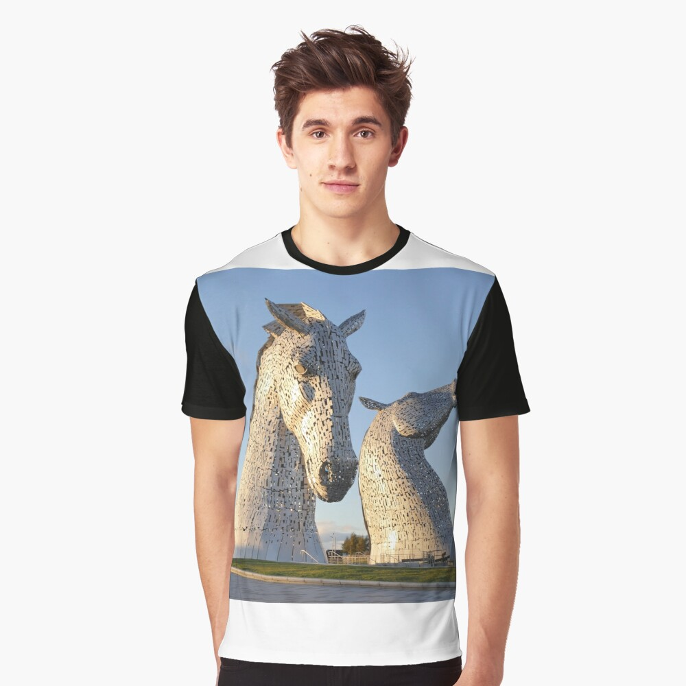 the Kelpies, Helix park, Falkirk Graphic T-Shirt Front