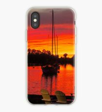 Blood Red Sunset At the Dock iPhone Case