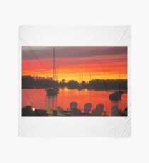 Blood Red Sunset At the Dock Scarf