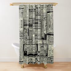 Synthesizer Fan Composition white Shower Curtain