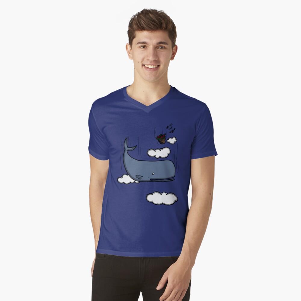Sperm whale and petunias V-Neck T-Shirt